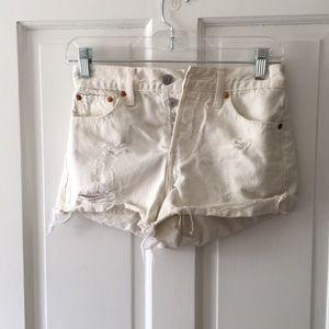 Levi White Ripped Denim Shorts